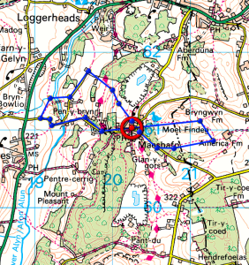 Route map on OS 1:50,000 map. Clwydian Range.